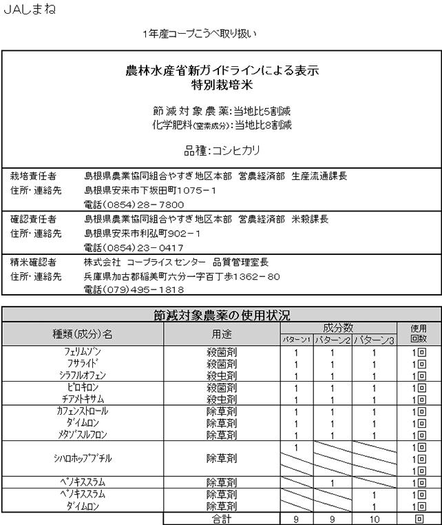 1年FP島根コシヒカリ